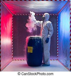 technicus, werkende , met, een, biohazardous, staal