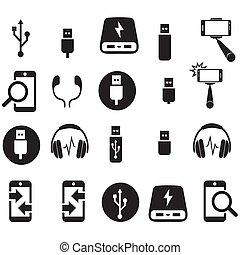 techniczny, komplet, ikona