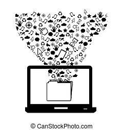 techniczny, komputer, figura, ikona