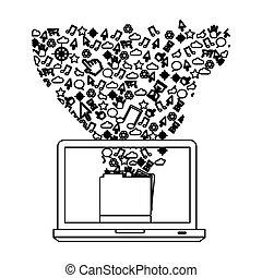techniczny, komputer, kontur, ikona