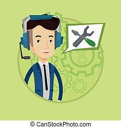 techniczny, operator, poparcie, wektor, illustration.