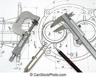techniek, gereedschap, op, technische tekening