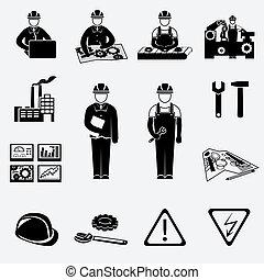 techniek, set, iconen