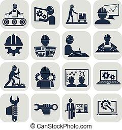 techniek, vector, iconen, set, op, grijs