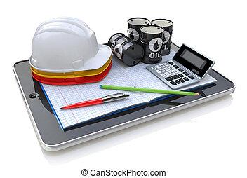 techniek, werken, op, tablet, computer, -, ontwikkeling, industrie