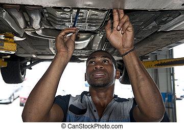 technik, automotive, egzaminując, wóz