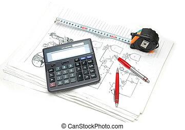 technik, zeichnungen, aus, bleistifte, taschenrechner