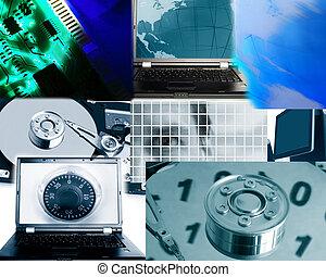 technika, míchaný, příbuzný, počítač, podobenství, bezpečí