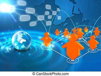 technika, společenský, síť, pojem