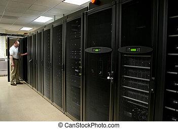 techniker, arbeiten, gestelle, von, server