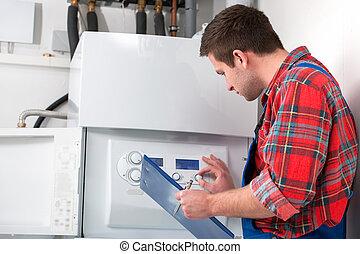 techniker, heizung, boiler, wartung