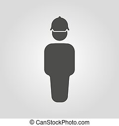 techniker, icon., bauunternehmer, ingenieur, reparatur, symbol., arbeiter, wohnung