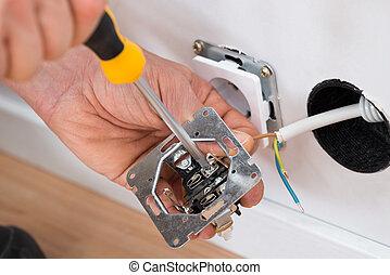 techniker, reparieren, steckdose