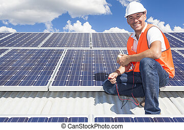 techniker, solarmodul