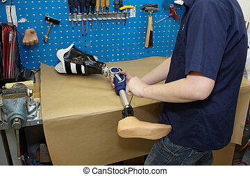 techniker, stellt, prothetisch, foot.