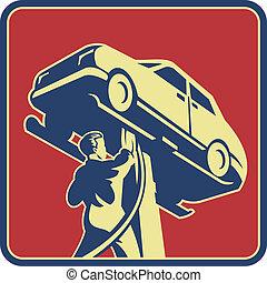 technikus, autó, retro, szerelő, rendbehozás