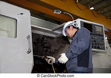 technikus, gép, cnc, mechanikai