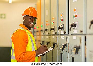technikus, ipari, fiatal, afrikai