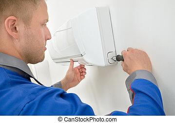 technikus, megjavítás, légkondicionáló