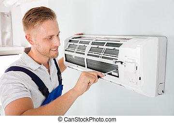 technikus, megjavítás, levegő, boldog, conditioner