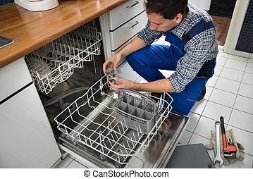technikus, megjavítás, mosogatógép