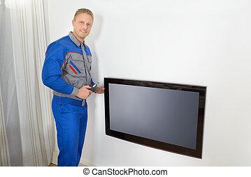 technikus, megjavítás, televízió