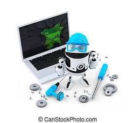 technikus, rögzítő, laptop.