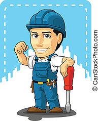 technikus, repairman, karikatúra, vagy