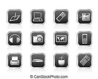 technique, équipement, high-tech, icônes