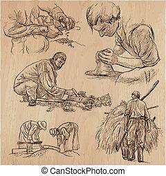 technique., arte, lavorativo, collection., classe, -, mano, disegnato, linea, eroi