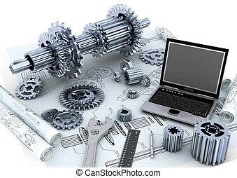 technique, ingénierie, concept