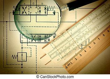 technique, ingénierie, outils, dessin