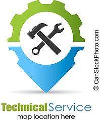 technique, service, emplacement, épingle