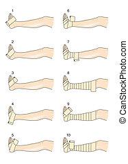 technique, spirale, bandage