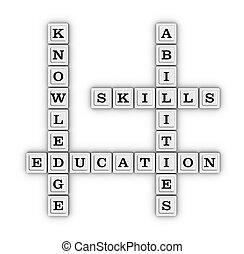 techniques, capacités, mots croisés, connaissance, puzzle.