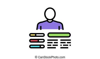 techniques, icône, animation, couleur, ouvrier