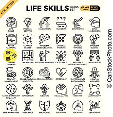 techniques, vie, icônes concept