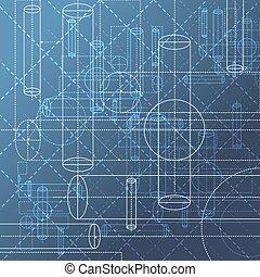 technisch, abstract, tekening, achtergrond