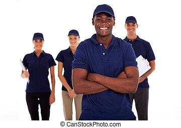 technisch, amerikanische , arbeiter, service, afrikanisch