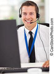 technisch, anruf- mitte, bediener, mit, kopfhörer