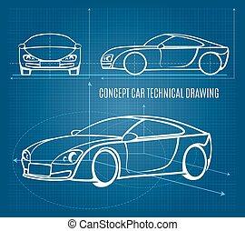 technisch, auto, concept, tekening
