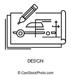 technisch, auto, freigestellt, zeichnung, technik, mechanisch, design, ikone