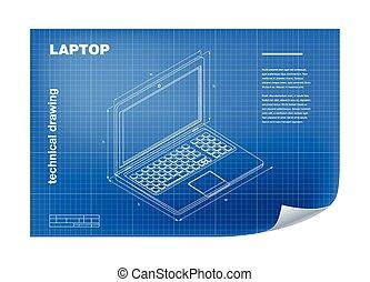 technisch, draagbare computer, tekening, illustratie