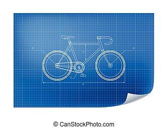 technisch, fiets, tekening, illustratie