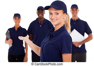 technisch, hübsch, arbeiter, weibliche,  service