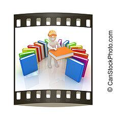 technisch, hard, best, filmen wapenbalk, witte , man, hoedje, literature., 3d