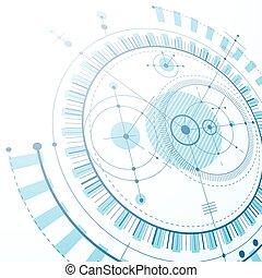 technisch, plan, blaues, abstrakt, technik, entwurf, für, gebrauch, in, grafik, und, web, design., perspektive, vektor, zeichnung, von, industrie, system, geschaffen, mit, mechanisch, zubehörteil, und, circles.