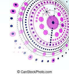 technisch, plan, fuchsin, abstrakt, technik, entwurf, für, gebrauch, in, grafik, und, web, design., perspektive, vektor, zeichnung, von, industrie, system, geschaffen, mit, mechanisch, zubehörteil, und, circles.
