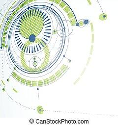 technisch, plan, grüner abriß, technik, entwurf, für, gebrauch, in, grafik, und, web, design., perspektive, vektor, zeichnung, von, industrie, system, geschaffen, mit, mechanisch, zubehörteil, und, circles.