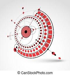 technisch, plan, rotes , abstrakt, technik, entwurf, für, gebrauch, in, grafik, und, web, design., perspektive, vektor, zeichnung, von, industrie, system, geschaffen, mit, mechanisch, zubehörteil, und, circles.
